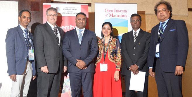 From left: Mr Govin Appavoo; Dr Albert van Jaarsveld; Mr Yogida Sawmynadan; Dr Upasana Singh; Dr Duva Pentiah, Chairman (OU) and Dr Kaviraj Sharma Sukon.